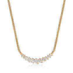 C. 1990 Vintage 1.05 ct. t.w. Graduated Diamond Necklace in 14kt Yellow Gold, , default