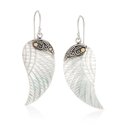 Mother-Of-Pearl Bali Carved Wing Drop Earrings in Sterling Silver and 18kt Gold, , default