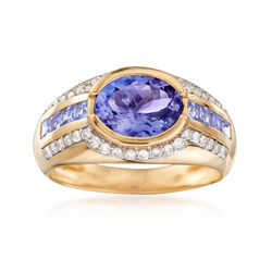 2.30 ct. t.w. Tanzanite and .32 ct. t.w. Diamond Ring in 14kt Yellow Gold, , default