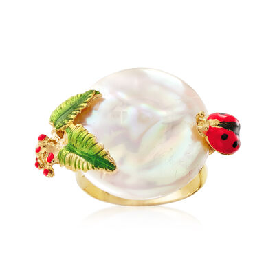 Italian Cultured Pearl and Enamel Ladybug and Vine Ring in 18kt Gold Over Sterling, , default