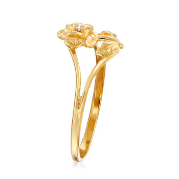 C. 1970 Vintage Diamond-Accented Flower Ring in 10kt Yellow Gold. Size 6.75, , default