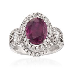 2.60 Carat Ruby and .90 ct. t.w. Diamond Ring in 18kt White Gold, , default