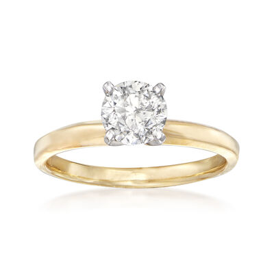 1.00 Carat Diamond Solitaire Ring in 14kt Yellow Gold, , default