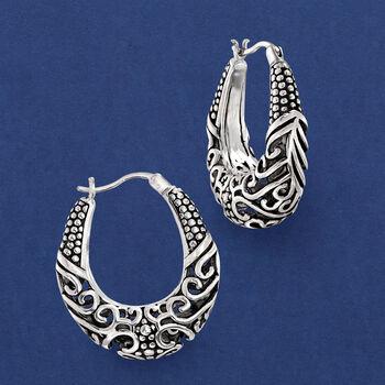 """Sterling Silver Scrollwork Hoop Earrings. 1"""""""