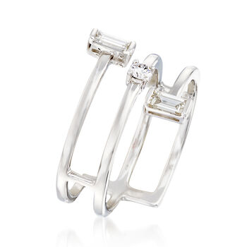.36 ct. t.w. Round and Baguette Diamond Bypass Ring in 18kt White Gold. Size 5, , default