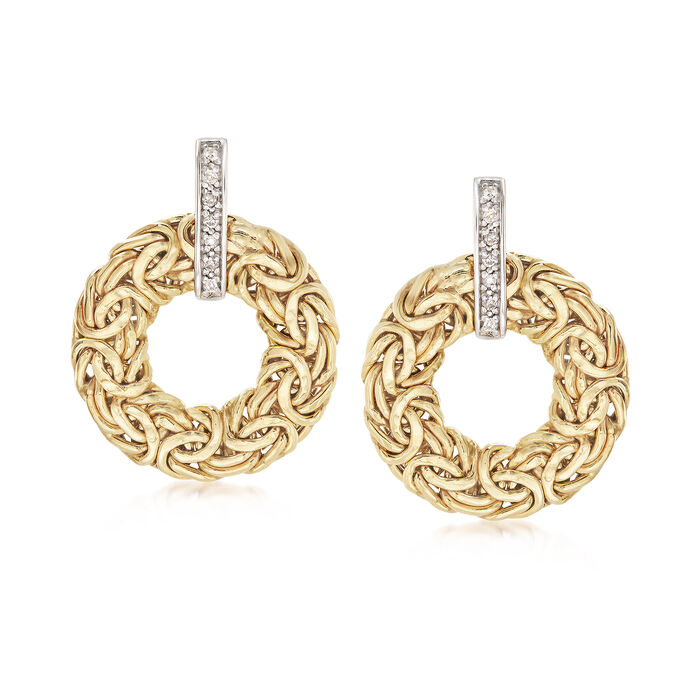 14kt Yellow Gold Byzantine Circle Drop Earrings with Diamond Accents, , default
