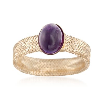 Italian 1.10 Carat Amethyst Mesh Ring in 14kt Yellow Gold, , default
