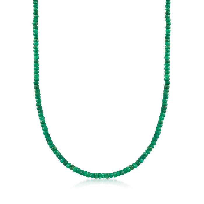 50.00 ct. t.w. Emerald Bead Necklace in 14kt Yellow Gold