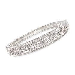 "Belle Etoile ""Lucia White"" 7.00 ct. t.w. CZ Bangle Bracelet in Sterling Silver, , default"