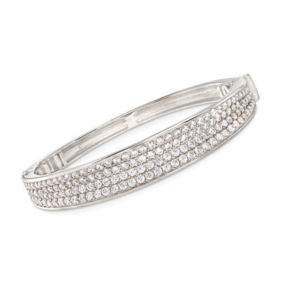 "Belle Etoile ""Lucia White"" 7.00 ct. t.w. CZ Bangle Bracelet in Sterling Silver, , default"