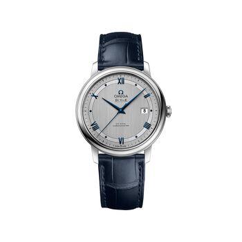 Omega De Ville Prestige Men's 39.5mm Stainless Steel Watch With Blue Leather Strap , , default