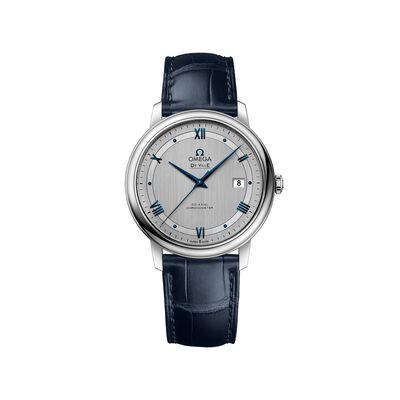 Omega De Ville Prestige Men's 39.5mm Stainless Steel Watch with Blue Leather Strap, , default