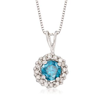 ".49 ct. t.w. Blue and White Diamond Pendant Necklace in 14kt White Gold. 18"", , default"