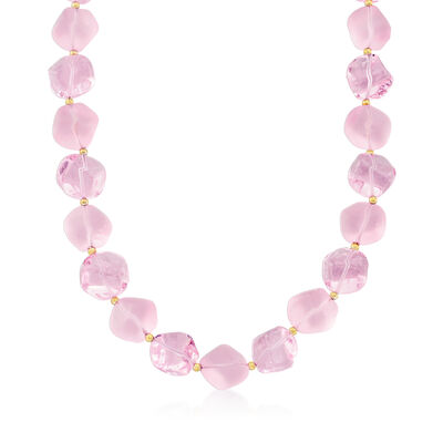Italian Pink Murano Glass Bead Necklace with 18kt Gold Over Sterling