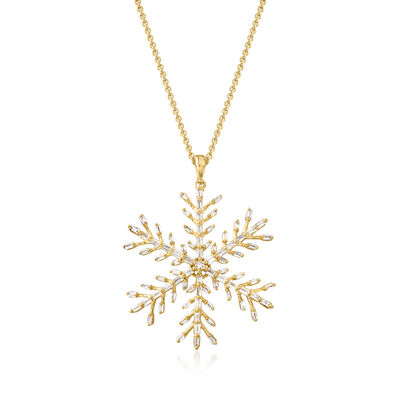 .55 ct. t.w. Diamond Snowflake Pendant Necklace in 18kt Gold Over Sterling
