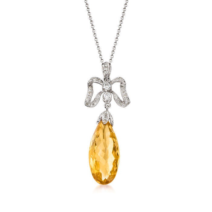 C. 1980 Vintage 8.63 Carat Citrine and .45 ct. t.w. Diamond Pendant Necklace in 18kt White Gold