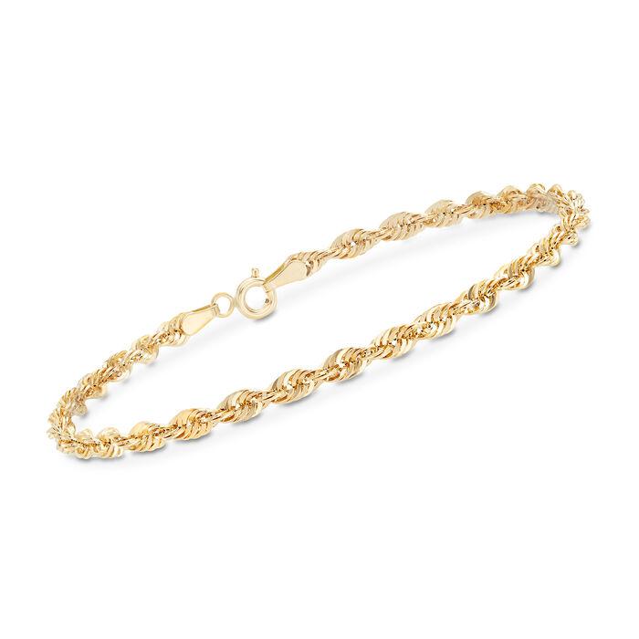 Italian 14kt Yellow Gold Rope Chain Bracelet, , default