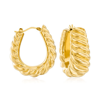 Italian Andiamo 14kt Yellow Gold Ribbed Hoop Earrings