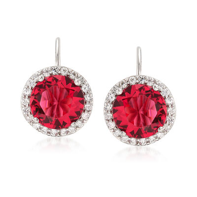2.71 ct. t.w. Red and White CZ Halo Earrings in Sterling Silver, , default