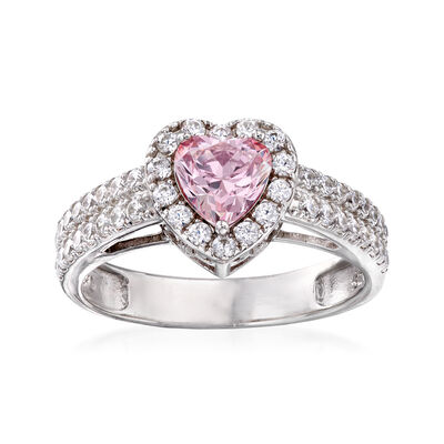 Swarovski Crystal 1.44 ct. t.w. Pink and White CZ Heart Ring in Sterling Silver, , default