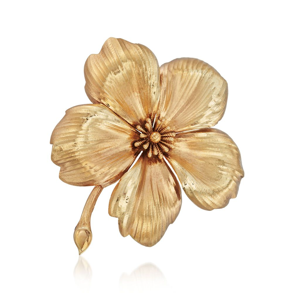 C 1960 Vintage Tiffany Jewelry 14kt Yellow Gold Flower Pin Ross