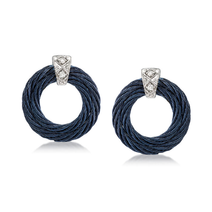 "ALOR ""Classique"" Blue Drop Earrings with Diamonds in 18kt White Gold, , default"