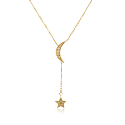.10 ct. t.w. Diamond Half-Moon and Star Necklace in 14kt Yellow Gold, , default