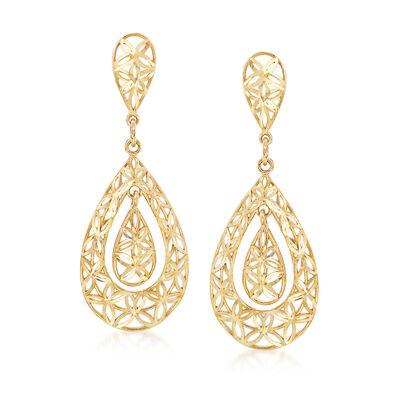 14kt Yellow Gold Floral Filigree Teardrop Earrings, , default