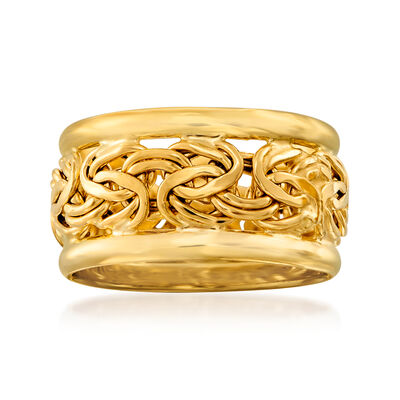 18kt Yellow Gold Bordered Byzantine Ring