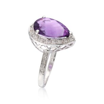 3.15 Carat Amethyst and .10 ct. t.w. Diamond Ring in 14kt White Gold, , default