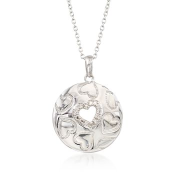 "Sterling Silver Pendant Necklace With Heart Cut-Out and Diamond Accents. 18"", , default"