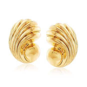 Italian 14kt Yellow Gold Seashell Motif Earrings, , default