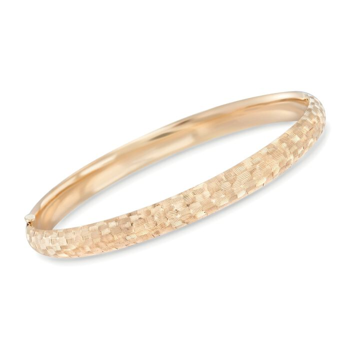 """14kt Yellow Gold Textured Checkerboard Bangle Bracelet. 7"""""""