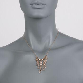 "14kt Yellow Gold Bead Bib Necklace. 17"", , default"