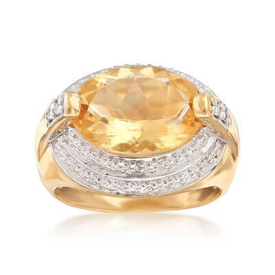 5.50 Carat Sideways Citrine Ring with White Topaz Accents in 14kt Yellow Gold Over Sterling, , default