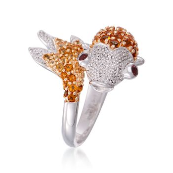 1.30 ct. t.w. Citrine Koi Ring With Diamonds and Garnets in Sterling Silver, , default