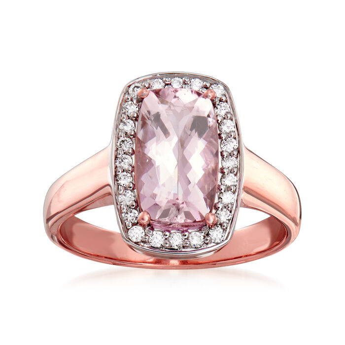 1.90 Carat Morganite and .24 ct. t.w. Diamond Ring in 14kt Rose Gold. Size 7