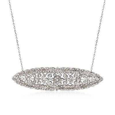 C. 1980 Vintage 1.15 ct. t.w. Diamond Filigree Pendant Necklace in 14kt White Gold