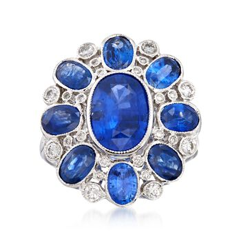 C. 2000 Vintage 5.20 ct. t.w. Sapphire and .50 ct. t.w. Diamond Dome Ring in 18kt White Gold. Size 6.5, , default
