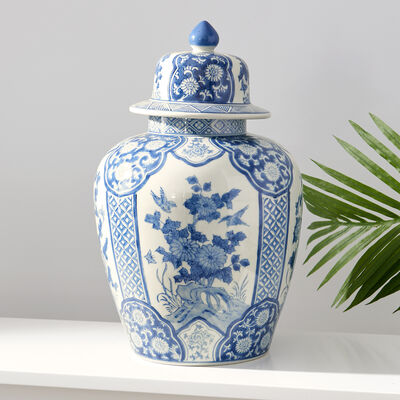 Blue and White Porcelain Flora and Fauna Cartouche Temple Jar, , default