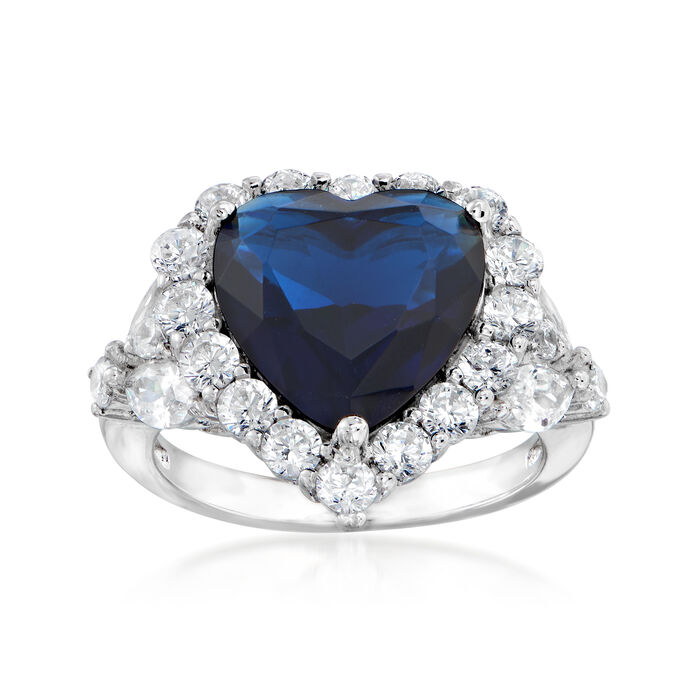 7.25 Carat Simulated Sapphire and 2.11 ct. t.w. CZ Heart Ring in Sterling Silver, , default