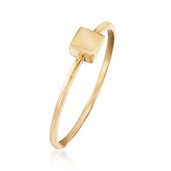 18kt Yellow Gold Dimensional Square Ring, , default