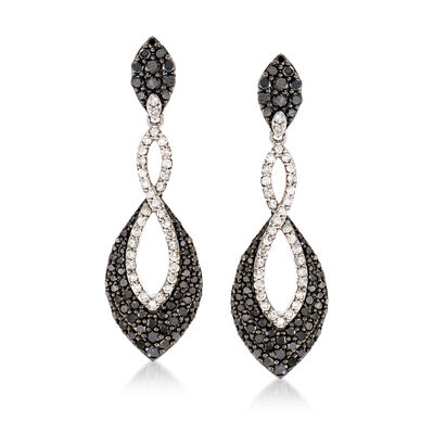 2.30 ct. t.w. Black and White Diamond Marquise-Shaped Drop Earrings in Sterling Silver