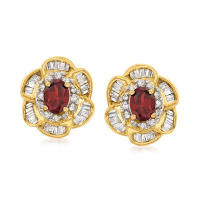 C. 1990 Vintage 2.00 ct. t.w. Garnet and 1.00 ct. t.w. Diamond Flower Earrings in 14kt Yellow Gold