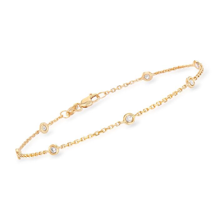 .20 ct. t.w. Bezel-Set Diamond Station Bracelet in 14kt Yellow Gold