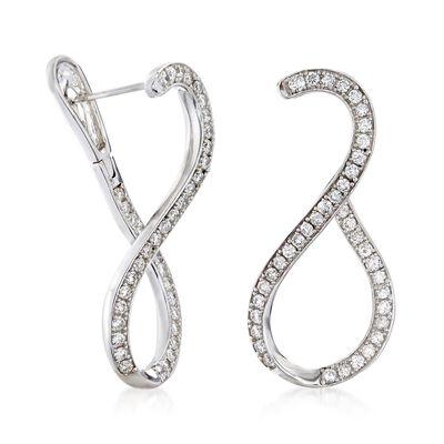 1.00 ct. t.w. Diamond Twist Hoop Earrings in 14kt White Gold, , default