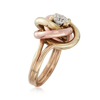 C. 1980 Vintage .91 Carat Diamond and 14kt Two-Tone Gold Knot Ring. Size 5, , default