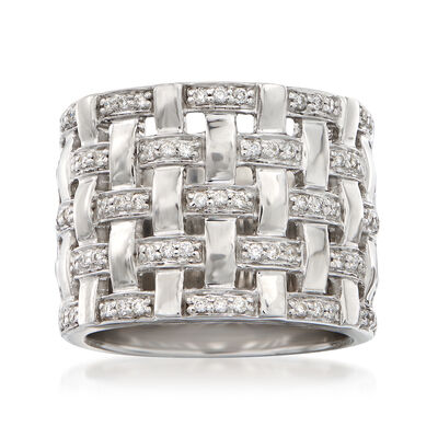.35 ct. t.w. Diamond Basketweave Ring in 14kt White Gold, , default