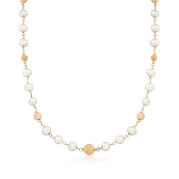 """6.5-7mm Cultured Pearl and Bead Station Necklace in 14kt Yellow Gold. 18"""", , default"""