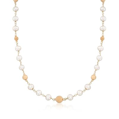 6.5-7mm Cultured Pearl and Bead Station Necklace in 14kt Yellow Gold, , default